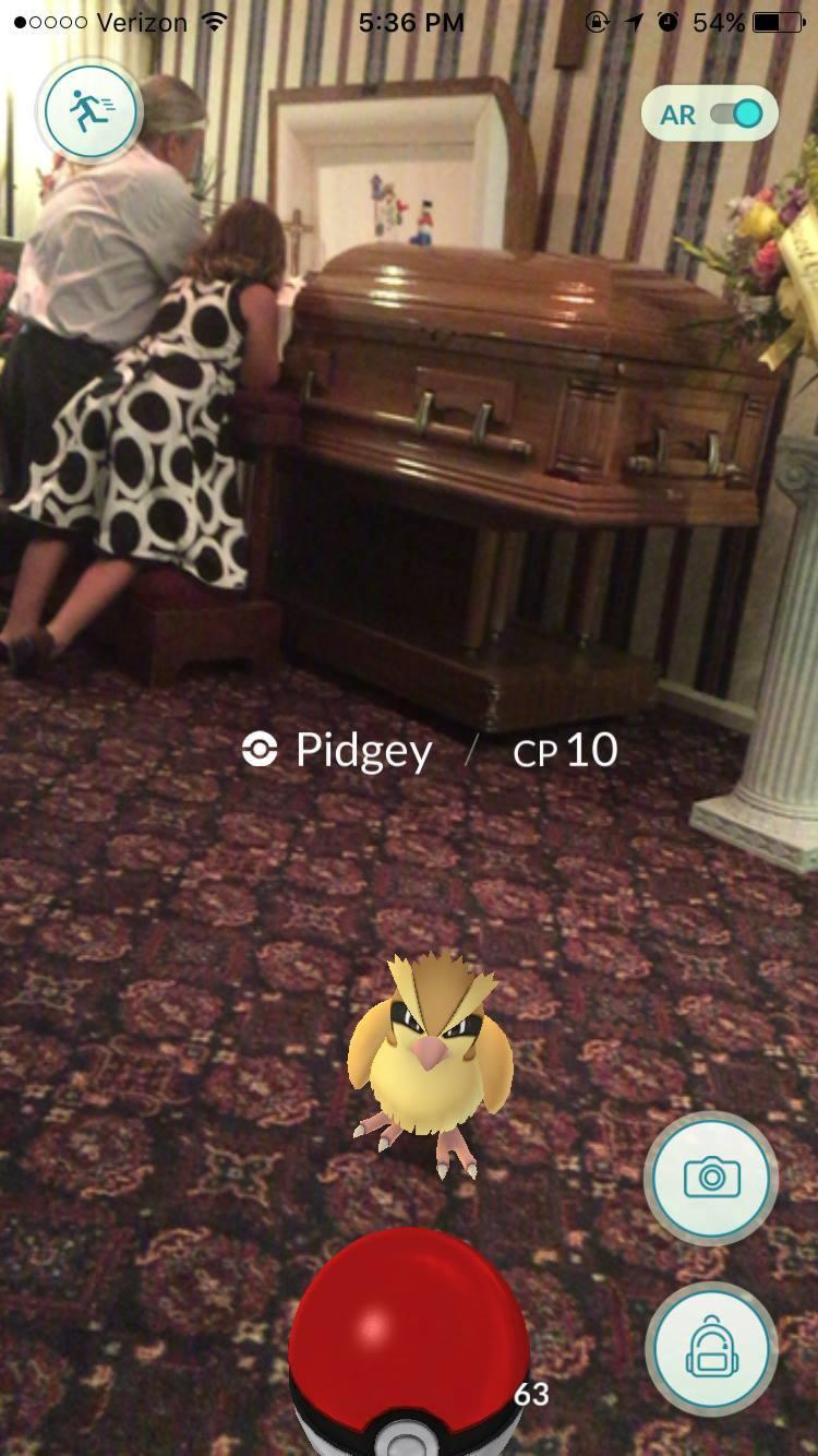 Catching Pokémon Go Pidgey at Funeral Home