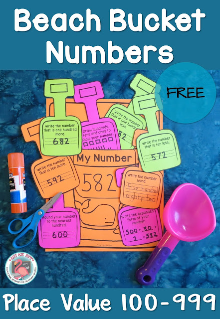 This free, versatile beach bucket and shovel activity can be used to help maintain place value skills that might otherwise be lost during the summer slump! It is perfect for reviewing and reinforcing place value skills with second and third graders at the end of the school year, during the summer or the beginning of the school year.