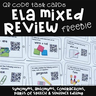 FREE ELA QR Code task Cards. Find this and tons of other free ideas and activities for using QR codes in the elementary classroom. You'll find freebies for using QR codes in math, reading, for scavenger hunts, self-checking task cards, listening centers and more on the iTeach 1:1 blog.