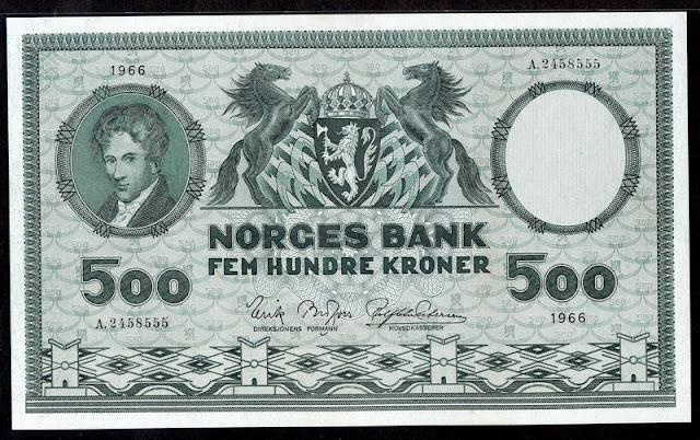Norway currency 500 Kroner banknote