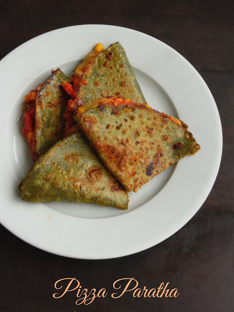 Pizza Spinach Paratha