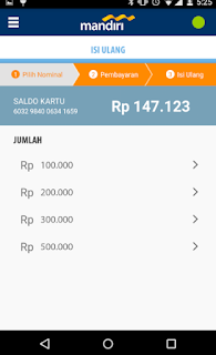 Cara top up via Aplikasi mandiri e-money isi ulang 3