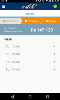 Cara top up via Aplikasi mandiri e-money isi ulang 3