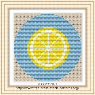LEMON FRUIT ICON, FREE AND EASY PRINTABLE CROSS STITCH PATTERN