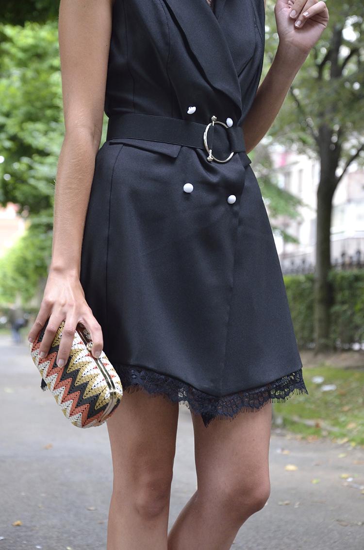black_dress_waistcoat_gold_sandals_clutch_trends_gallery_look