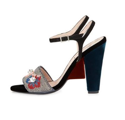 Fendi Fantasia Floral Beaded Velvet Block Heel Sandal