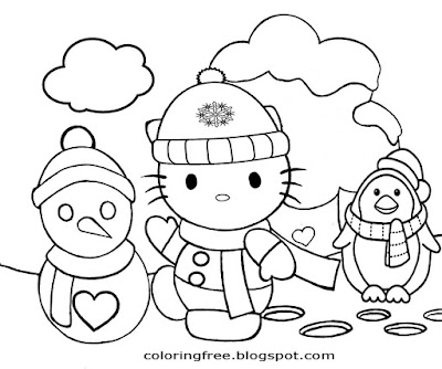Frozen wintry weather picture free simple hello kitty coloring pages kids printable craft activities