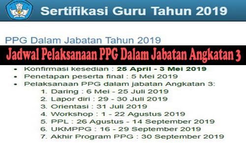 Jadwal Pelaksanaan PPG Dalam Jabatan Angkatan 3 (PPG Dalam Jabatan Tahun 2019)