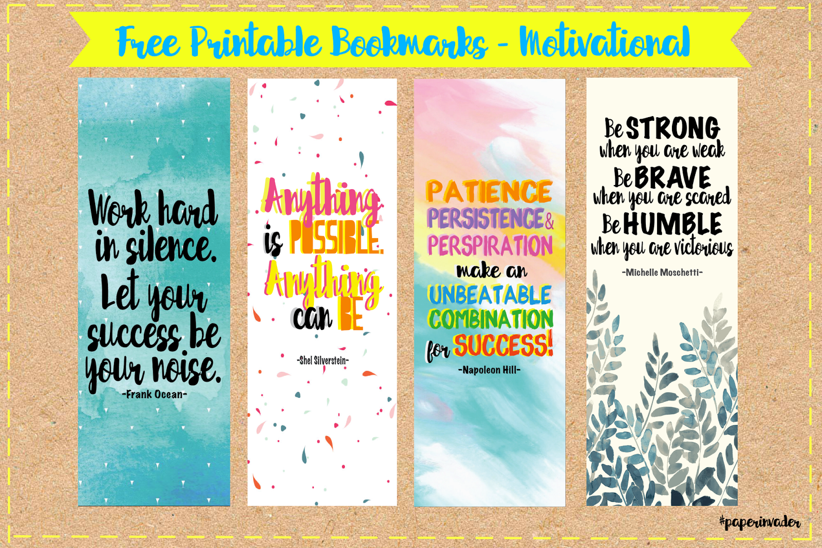 photo relating to Bookmarks Printable named Paper Invader: Absolutely free Printable Bookmarks - Motivational