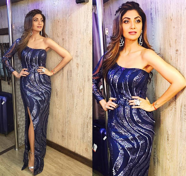 Spotted: Actress Shilpa Shetty was recently Spotted Wearing Earrings from Aurelle by Leshna Shah for Super dancer show.