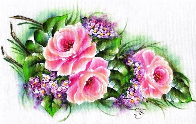 pano de copa pintado com rosas