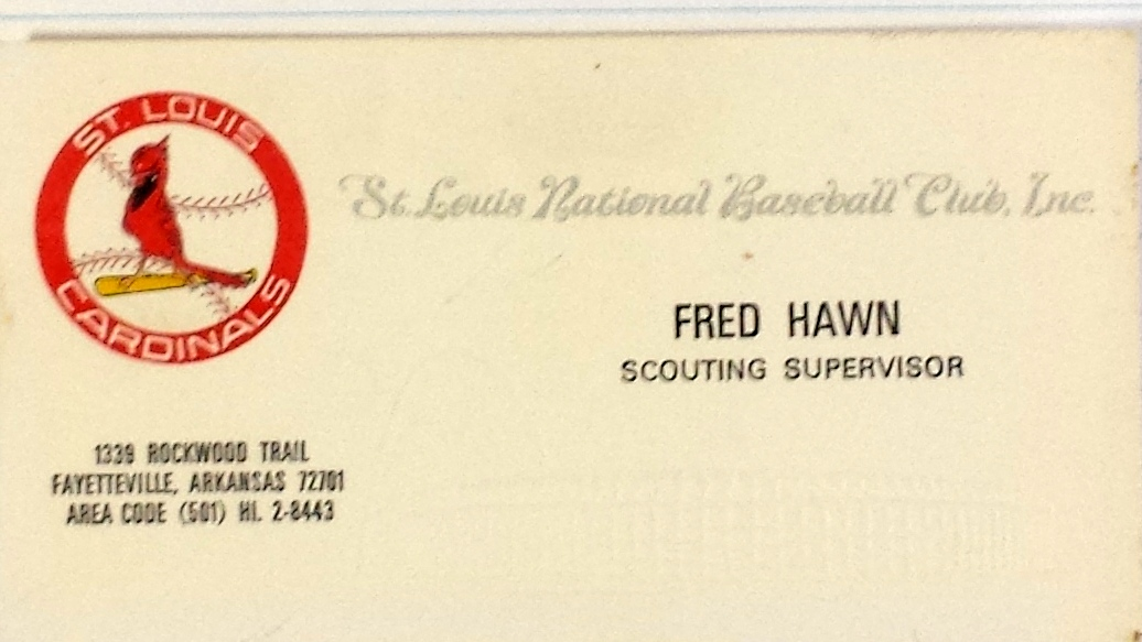 Eclectic at best fayetteville freddie hawn a good life in baseball business card courtesy of bubba mccord colourmoves