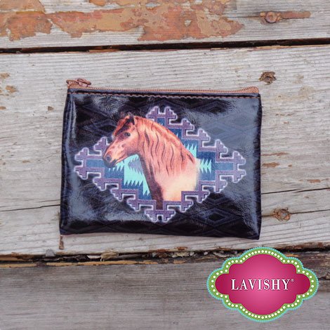 LAVISHY vegan coin purse with horse print