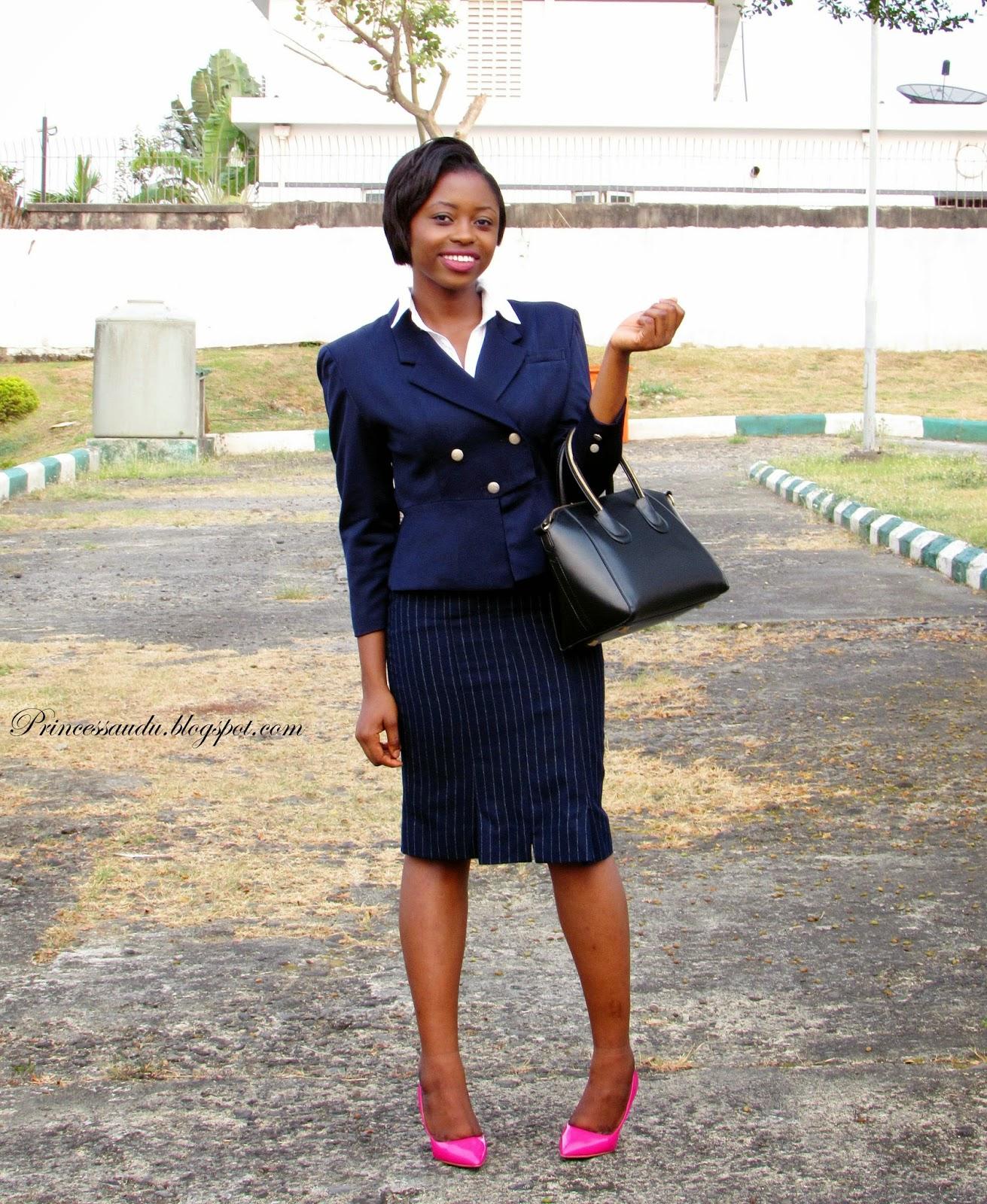 pin stripe skirt, retro blazer