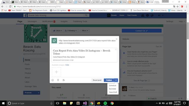 Gambar ini memperlihatkan cara update facebook secara otomatis dengan cara pilih panah di bawah, lalu pilih schedule