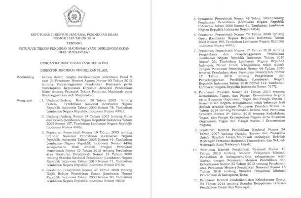 Petunjuk Teknis Pendirian Madrasah yang Diselenggarakan oleh Masyarakat