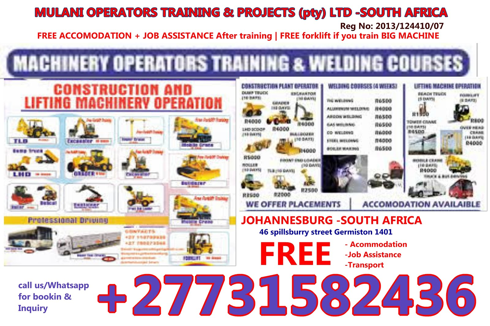 Best  Machinery & welding courses Training school +27731582436 in soutth africa