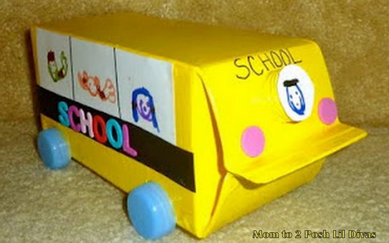 Mom To 2 Posh Lil Divas Back To School Fun Milk Carton School Bus