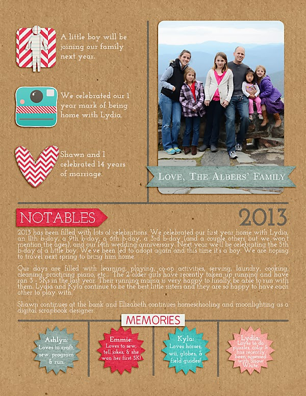 Infographic type scrapbook newsletter page