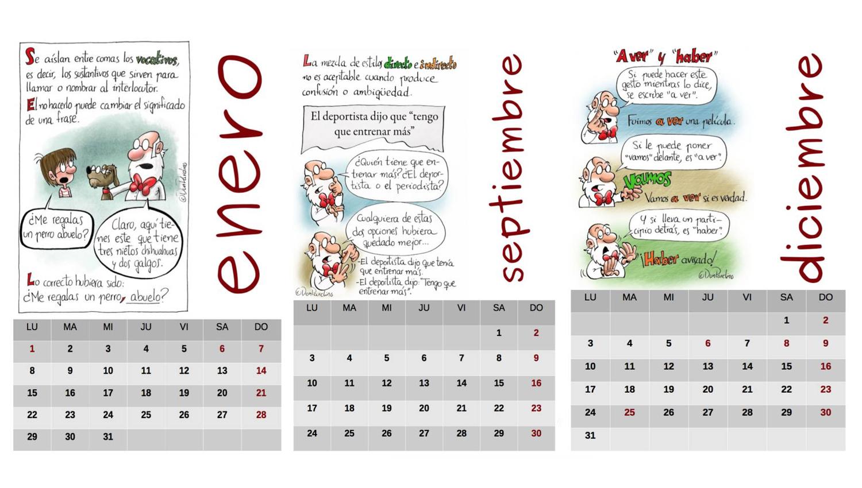 Descarga gratis el Calendario ortográfico 2018 (PDF) | Oye