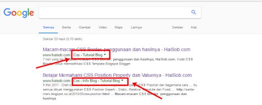 Breadcrumbs yang terindex search Google
