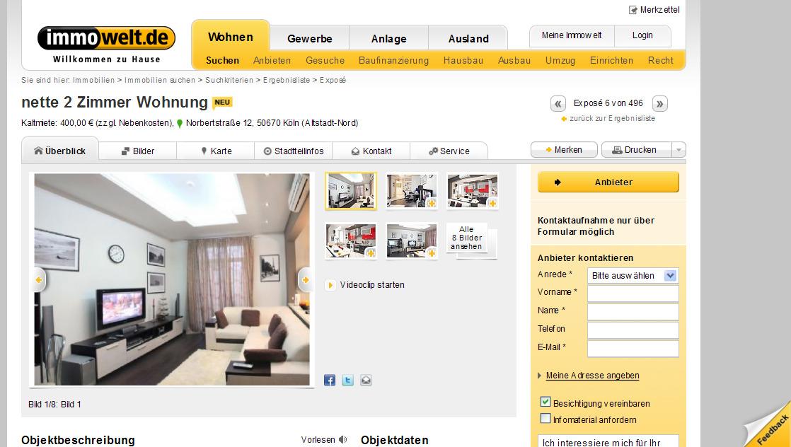 nette 2 zimmer wohnung kaltmiete 400 00 zzgl nebenkosten. Black Bedroom Furniture Sets. Home Design Ideas