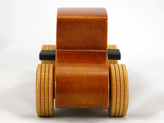 Rear -  Wooden Toy Car - Hot Rod Freaky Ford - 27 Coupe - Pine - Amber Shellac - Metallic Purple Hubs