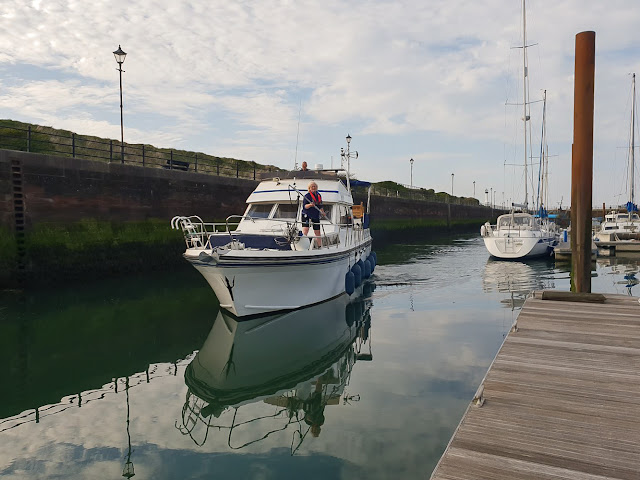 Photo of coming into our mooring with the docking stick at the ready