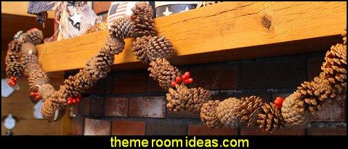 Rustic Real Pinecone Garland Rustic Christmas decorating ideas - rustic Christmas decorations - Vintage - Rustic - Country style Christmas decorating - rustic Christmas decor - Christmas stockings