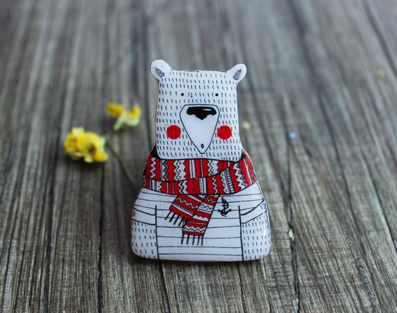 Dinabijushop's polymer clay pin polar bear