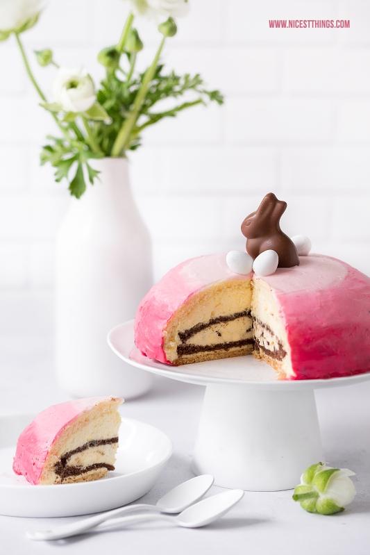 Eierlikör Torte dekoriert mit Ombre Tortencreme zu Ostern