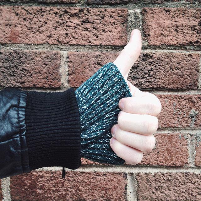 Sweater on brick! Thumbs up!