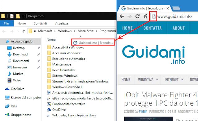 Creare collegamento sito internet in menu Start Windows 10