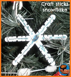 Popsicle stick snowflake from Glittering Muffins