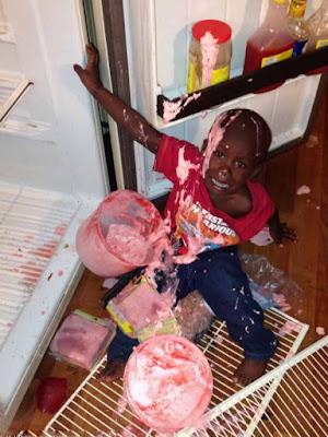 Witziges lach Bild Kühlschrank - Typisch Kinder die Unordnung machen