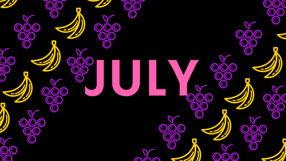 July title image with funky grape and banana shapes