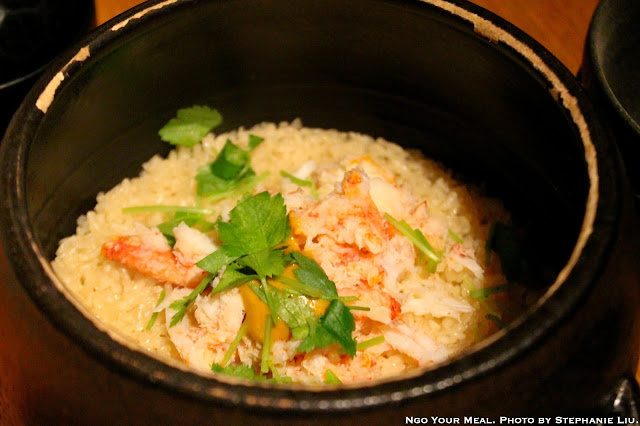 Kani Donabe Meshi: Steamed Rice Cooked with Snow Crab and Crab Butter at Sakagura