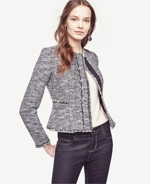 Petite Fringe Tweed Jacket