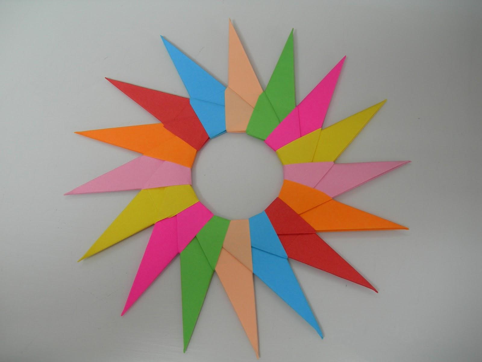 Papiroflexia en la escuela estrella modular de 16 puntas - Como hacer colores ...