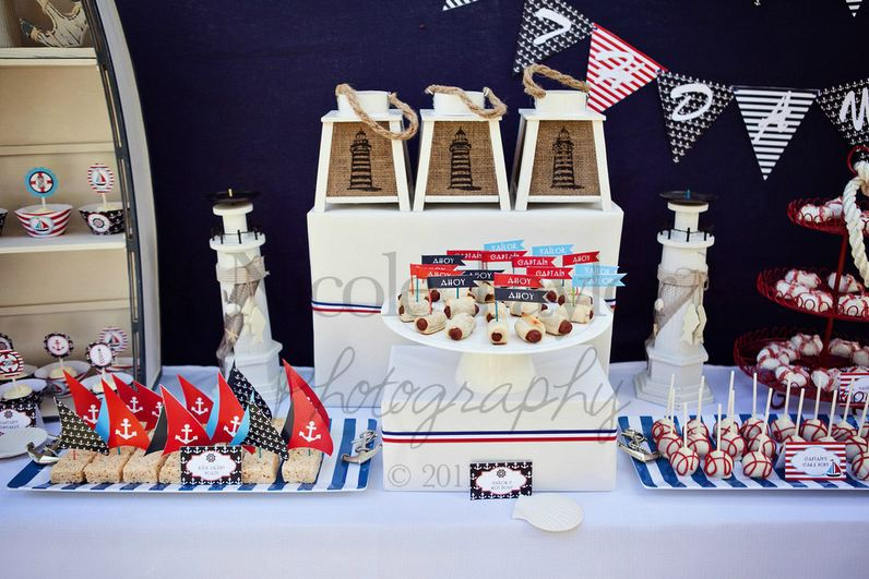 A summer nautical birthday party party ideas party for Anchor decoration party