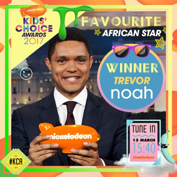 "South African Comedian & ""The Daily Show"" Host Trevor Noah Wins ""Favorite African Star"" at the Nickelodeon Kids' Choice Awards 2017"