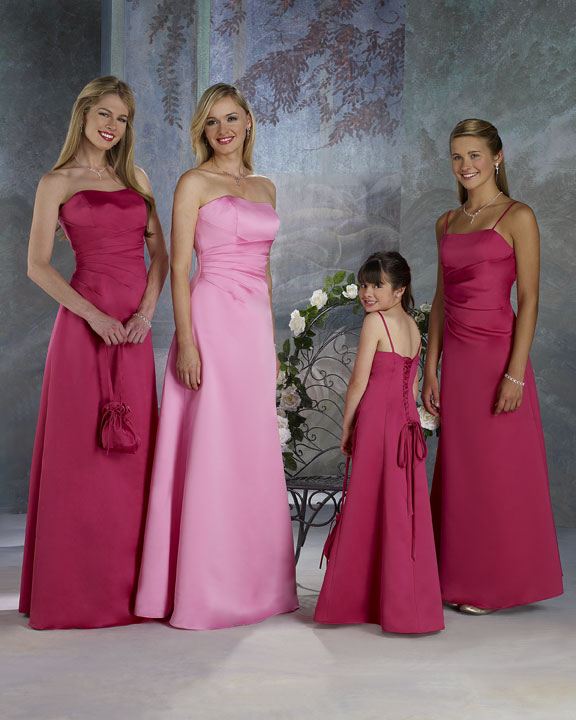 Designs For Wedding Gowns: Long Bright Pink Bridesmaid Dress Designs