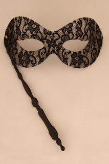 Black Lace Masquerade Ball Eye Mask with handle from Theatrical Threads