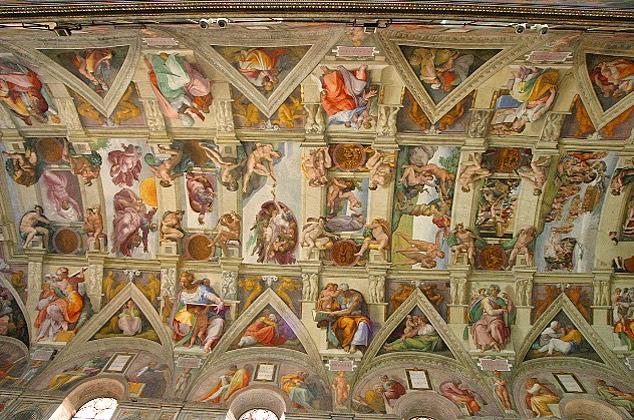 Teto da Capela Sistina - Michelangelo Buonarroti e suas pinturas (Renascimento) Italiano