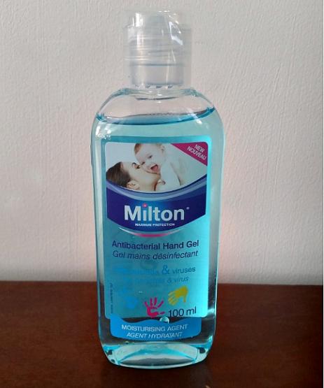 A bottle of Milton Antibacterial Hand Gel.