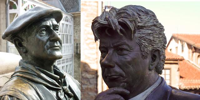 Bustos de Ken Follet y Celedon en bronce en Vitoria Gasteiz