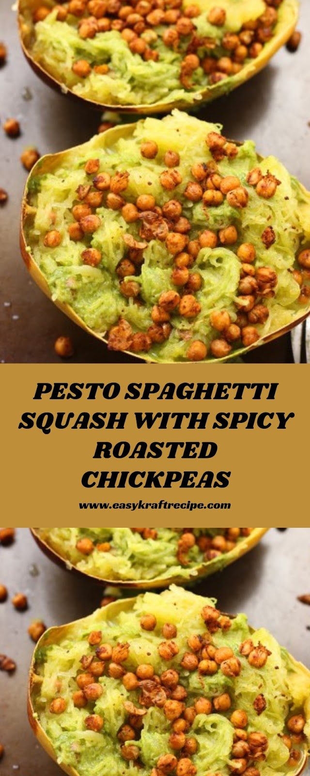 PESTO SPAGHETTI SQUASH WITH SPICY ROASTED CHICKPEAS