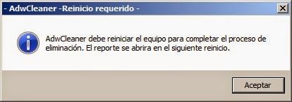 Reinicio requerido AdwCleaner