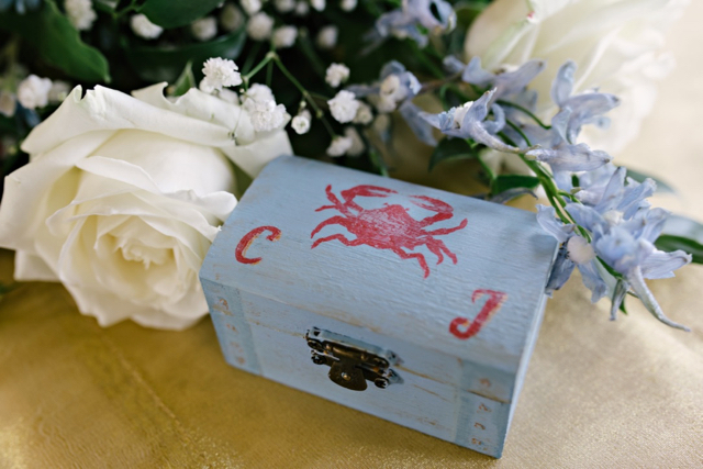 Vintage seaside wedding - treasure chest ring box