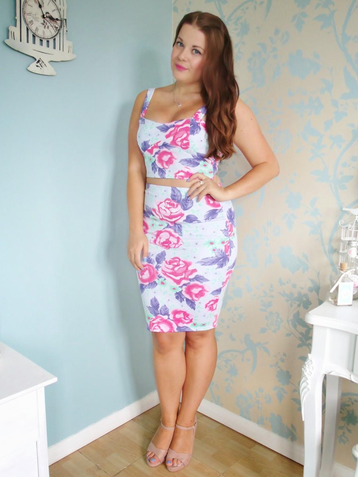 Bralet Amp Pencil Skirt Floral Coord Amp Laurens Way Tan